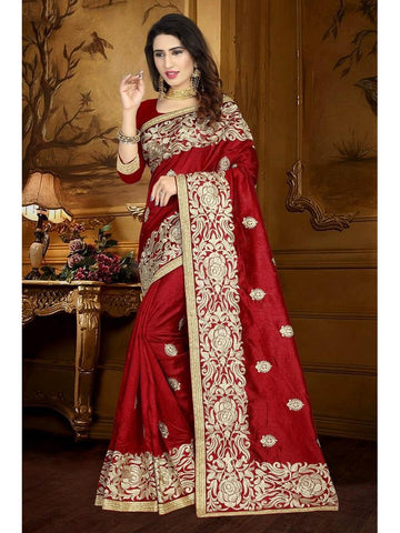 Designer Maroon color Art Silk Saree