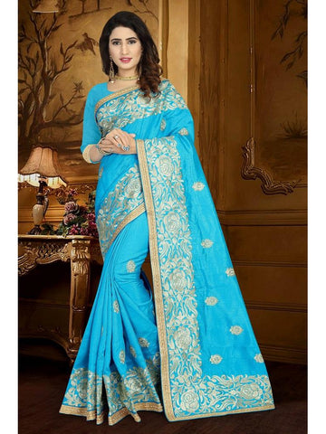 Designer Sky Blue color Art Silk Saree