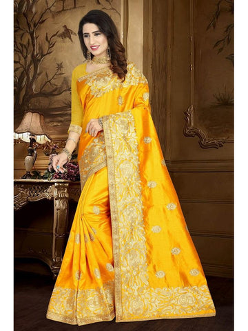 Designer Yellow color Art Silk Saree