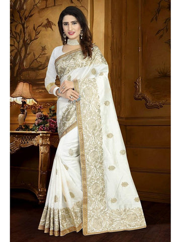Designer White color Art Silk Saree
