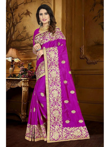 Designer Magenta Pink color Art Silk Saree