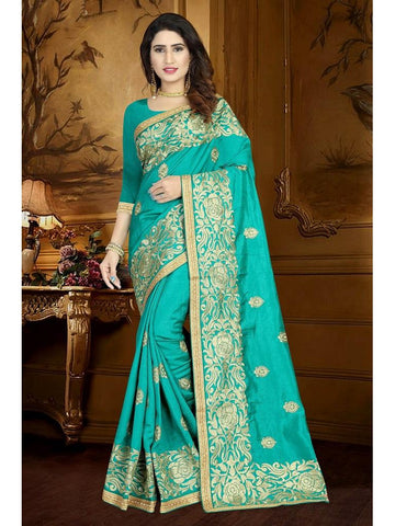 Designer Turquoise Blue color Art Silk Saree
