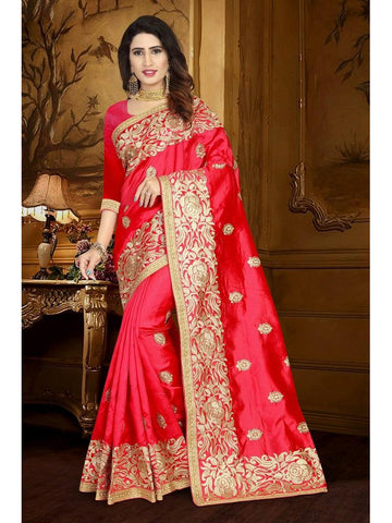 Designer Red color Art Silk Saree
