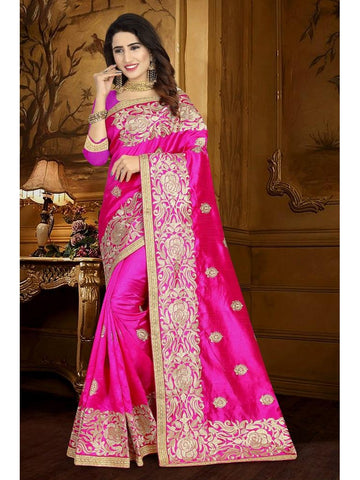 Designer Fuschia Pink color Art Silk Saree