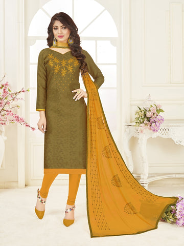 Beautiful Olive Green Color Straight Cut Suit