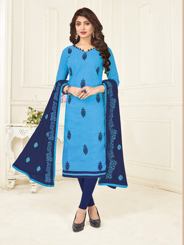 Beautiful Blue Color Straight Cut Suit