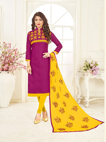 Beautiful Magenta Pink Color Straight Cut Suit