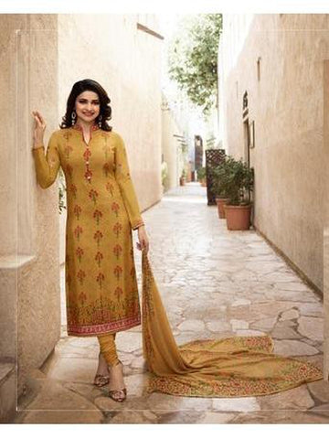 Beautiful Mustured Yellow Color Straight Cut Suit