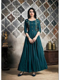 Designer Teal Blue Color Long Anarkali Kurti and Gown