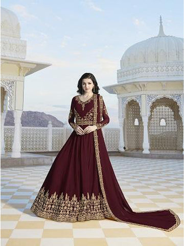 Designer Party Wear Maroon Color Anarkali Suit