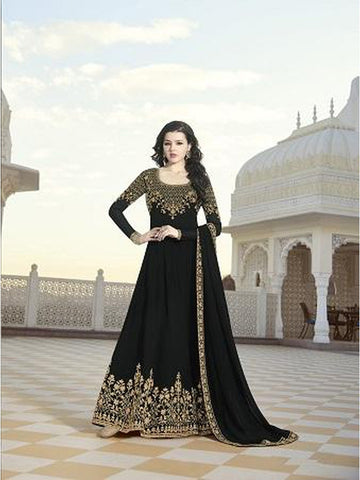 Designer Party Wear Black Color Anarkali Suit