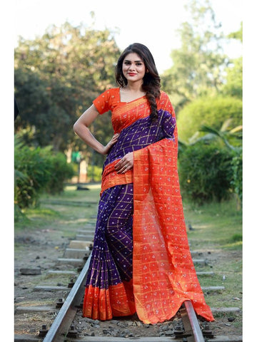 Designer Violet & Orange color Silk Saree