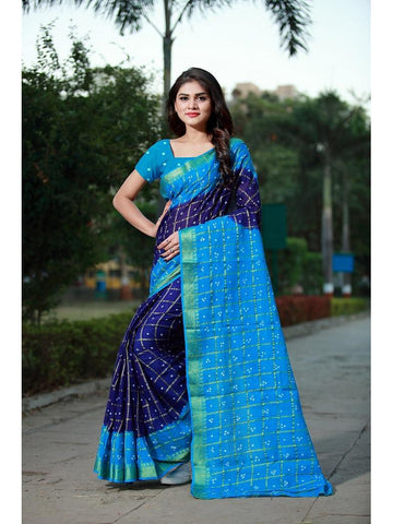 Designer Royal Blue & Blue color Silk Saree