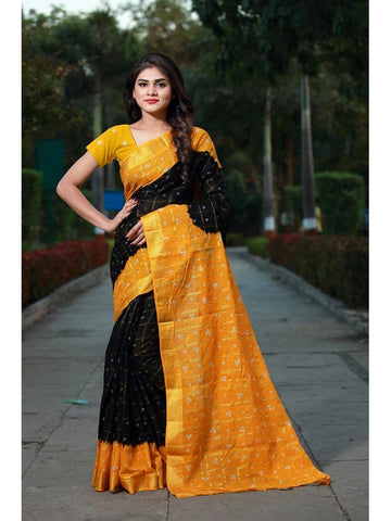 Designer Black & Musturd Yellow color Silk Saree