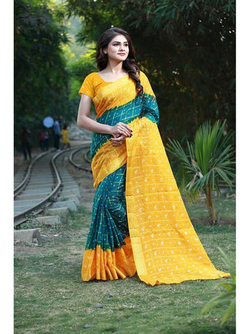 Designer Blue & Musturd Yellow color Silk Saree