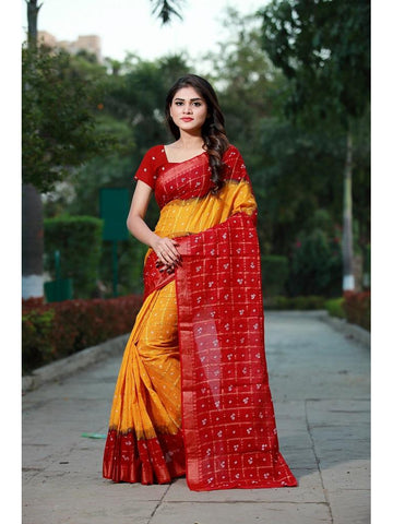 Designer Musturd Yellow & Red color Silk Saree