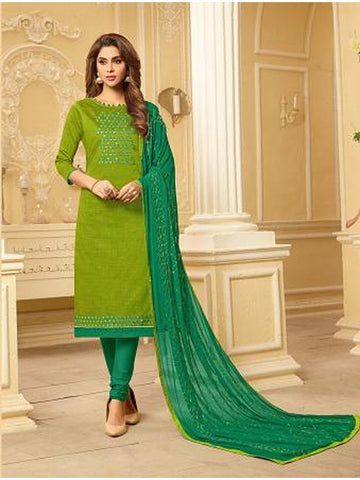Designer and Beautiful Parrot Green Color Straight Cut Suit
