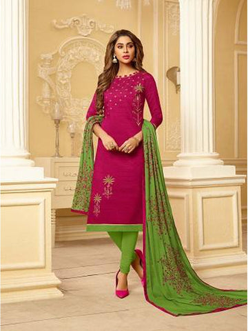 Designer and Beautiful Rani Pink Color Straight Cut Suit