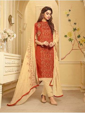 Designer and Beautiful Rust Orange Color Straight Cut Suit