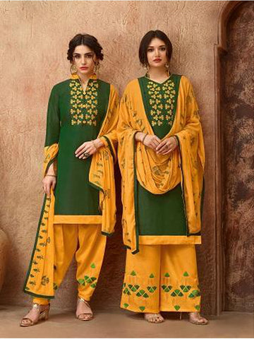 Designer and Beautiful Dark Green Color Straight Cut Suit with Bottom