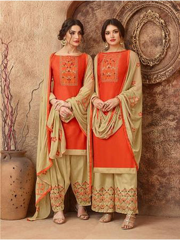 Designer and Beautiful Orange Color Straight Cut Suit with Bottom