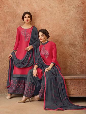 Designer and Beautiful Dark Pink Color Straight Cut Suit with Bottom