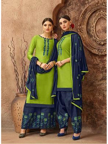 Designer and Beautiful Green Color Straight Cut Suit with Bottom