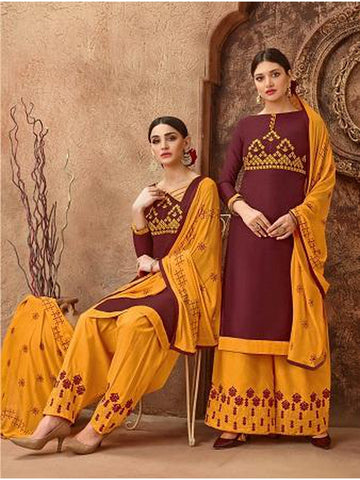 Designer and Beautiful Maroon Color Straight Cut Suit with Bottom