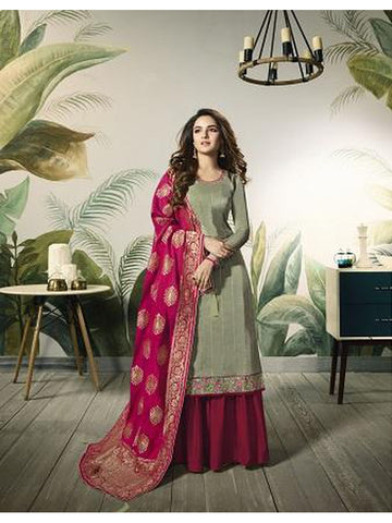 Designer and Beautiful Pastel Green Color Straight Cut Suit with Bottom