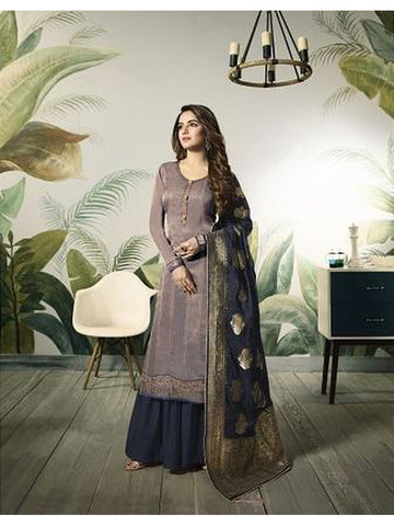 Designer and Beautiful Mauve Color Straight Cut Suit with Bottom