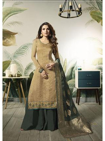 Designer and Beautiful Beige Color Straight Cut Suit with Bottom