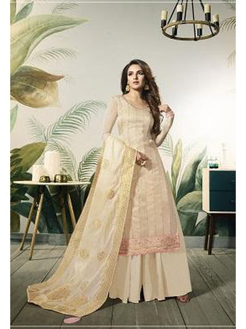 Designer and Beautiful Cream Color Straight Cut Suit with Bottom