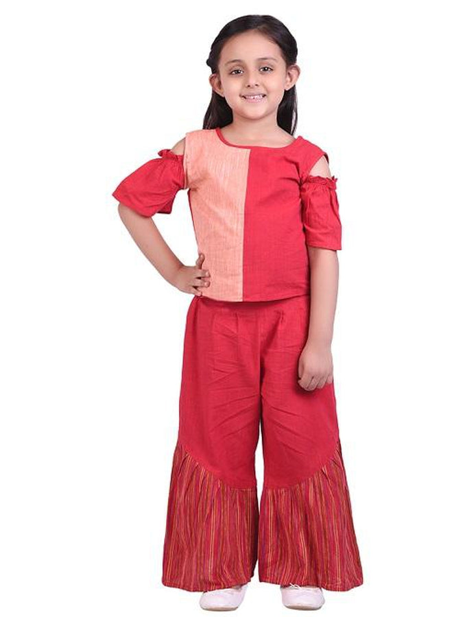 2cfae19a5 Designer and Beautiful Red & Peach Color Kids Wear Top Pant Combo ...