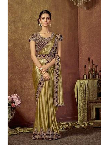 Designer and Gorgeous Golden color Saree