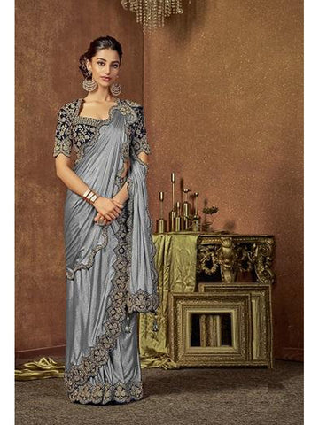 Designer and Gorgeous Grey color Saree