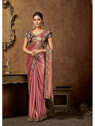 Designer and Gorgeous Pink color Saree