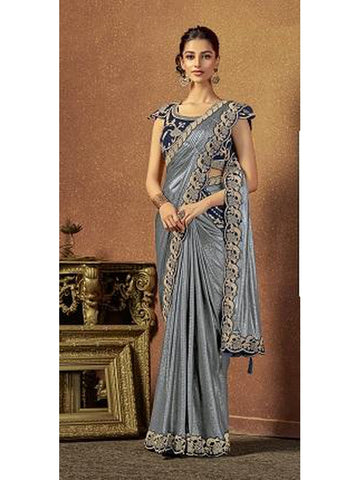 Designer and Gorgeous Silver color Saree