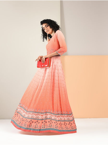 Designer Dark Peach Color Long Anarkali Kurti and Gown