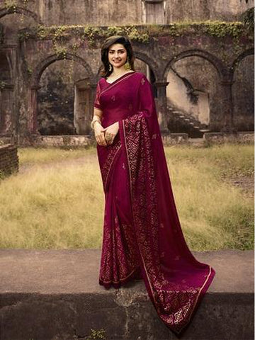 Designer and Gorgeous Magenta Pink color Saree