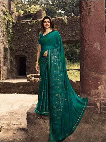Designer and Gorgeous Teal Green color Saree