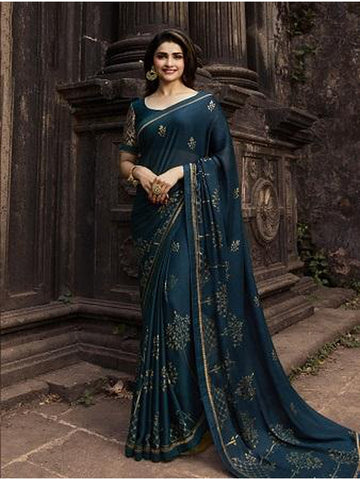 Designer and Gorgeous Teal Blue color Saree
