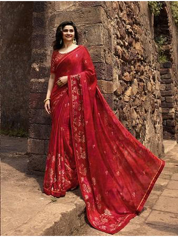 Designer and Gorgeous Red color Saree