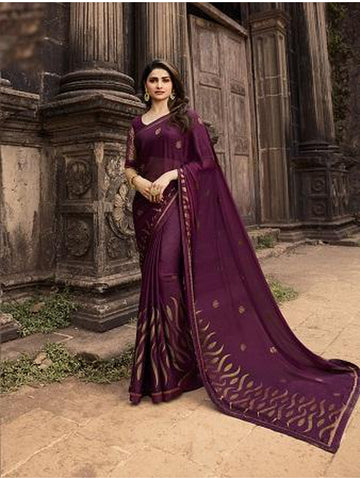 Designer and Gorgeous Wine color Saree