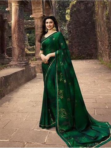 Designer and Gorgeous Dark Green color Saree