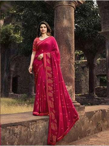 Designer and Gorgeous Rani Pink color Saree