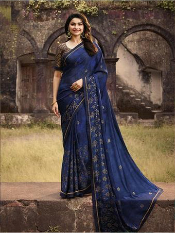 Designer and Gorgeous Royal Blue color Saree