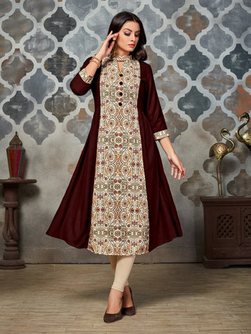 Designer Brown & Cream Color Long Anarkali Kurti