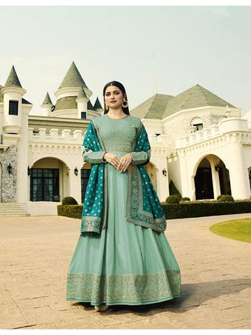 Designer Party Wear Turquoise Blue Color Anarkali Suit