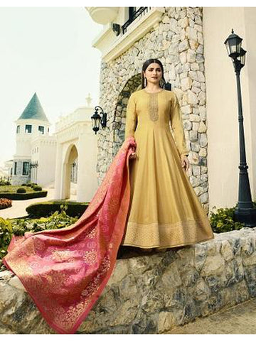 Designer Party Wear Yellow Color Anarkali Suit