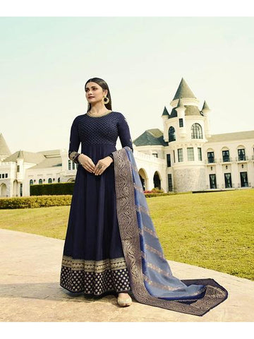 Designer Party Wear Navy Blue Color Anarkali Suit